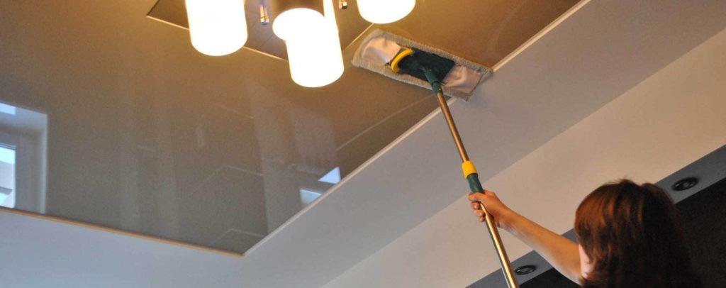 Мытье натяжных потолков